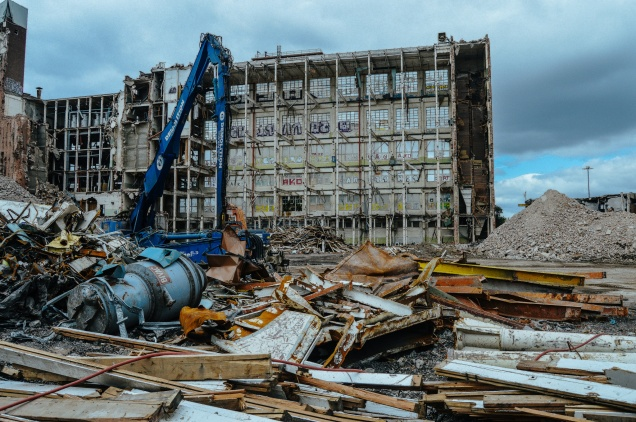 Inside the demolition site of the Rank Hovis Flour Mill in Hull.